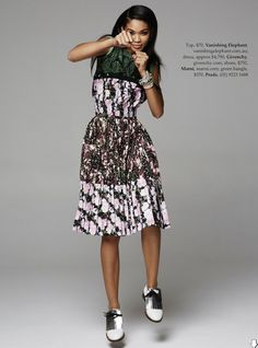TROPICAL PUNCH CHANEL IMAN VOGUE AUSTRALIA FEBRUARY 2014 Photographer: Pierre Toussaint Styled by: Nicole Bonython-Hines TROPICAL FLORAL PRINT SPRING SUMMER 2014 EDITORIAL GREEN PALM PRINT TOP FLORAL PINK FLOWER GIVENCHY STRAPLESS BAG CHUNKY STACKED BRACELETS SILVER FRINGE WHITE MARNI OXFORDS