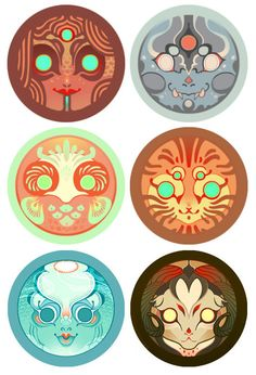 Set of 6 Daruma Stickers OR Buttons by Shy