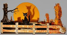 Vintage Halloween Ephemera ~ Gibson Halloween Store Display, circa 1920's. ~ This piece was found in the basement of an old bookstore operating from the 1920s to around the 40's. Notice the contraction on Hallow'een.