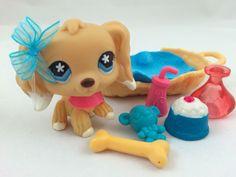 Littlest Pet Shop RARE Tan/Cream Dipped Ear Cocker Spaniel #748 w/Accessories #Hasbro