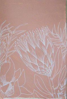 morning protea © TSK TSK 2009 - 2013 // all artworks by Tiel Seivl-Keevers Protea Art, Protea Flower, Leaf Drawing, Floral Drawing, Lino Art, Australian Native Flowers, Stencil Art, Stencils, African Textiles