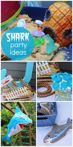 "This ""Beware of Sharks"" boy birthday party had an undersea aquarium, a balloon toss and a shark pinata!  See more party ideas at CatchMyParty.com!"