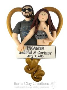Engagement Ornament CUSTOMIZED DEPOSIT Please read item | Etsy Engagement Ornaments, Wedding Ornament, Polymer Clay Ornaments, Polymer Clay Christmas, Heart Ornament, Nurse Gifts, Clay Creations, Caricature, Best Quotes