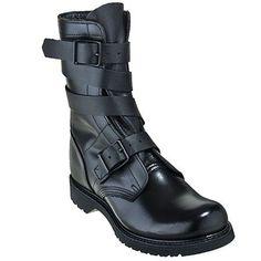 Mens Combat Boots . Black Leather Biker Boots . Military ...