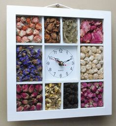 I wanna figure out how to make this. Dried seeds and flowers, clock in the middle.