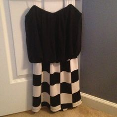 SALE! Sweetheart 2-Fer Tube Top Dress  Tube top dress. Black on top with sheer overlay and black and white checkered on bottom. Charlotte Russe Dresses
