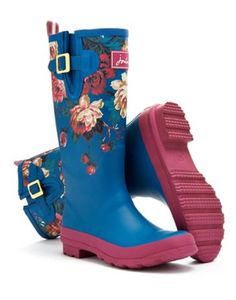 Joules Womens Print Welly, Invite Floral Maya Blue.