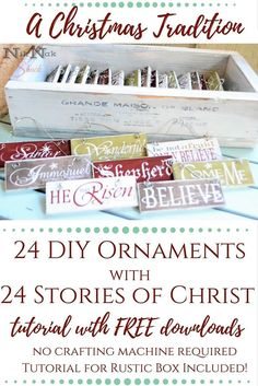 DIY Christmas Decor - DIY Ornaments with Story of Christ for each Ornament. - Nik Nak Shack Nightly Christmas Tradition with easy DIY ornaments made out of paint sticks! Includes 24 corresponding stories of Christ. Keeping Christ in Christmas. Homemade Ornaments, Diy Christmas Ornaments, How To Make Ornaments, Christmas Projects, Holiday Crafts, Holiday Fun, Christmas Decorations, Christmas Ideas, Christmas Nativity