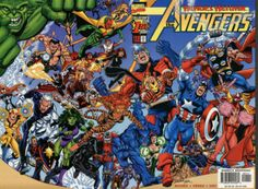 Great George Perez wrap-around cover art to Avengers #1 comic, Vol. 3 1998 series. The man knows how to pack a cover.  #comicart #georgeperez #superheroes