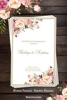 Wedding Program Template Romantic Blossoms DIY Printable