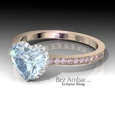"""Eclipse Engagement Ring for Fancy Blue Heart Shaped Diamond - You know it's expensive when you have to """"call for the price """" :)"""