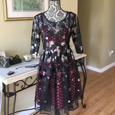 """❤️TRACY REESE SEQUIN DRESS❤️ Brand new with tags.  Tracy Reese party/prom dress with allover sequin and embroidered polka dots. Slip underneath is black with red polka dots peeking through. Cutout back detail, scoop neck, 3/4 sleeves, concealed side zip.  Approximately 35"""" long. Shell 100% polyester/ lining 100% acetate. By Plenty by Tracy Reese.❤️❤️❤ Tracy Reese Dresses Mini"""
