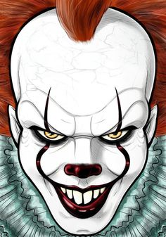 THAT FACE . drawings clown Pennywise 2017 by Thuddleston on DeviantArt Scary Drawings, Cool Art Drawings, Art Drawings Sketches, Cartoon Drawings, Cartoon Art, Easy Halloween Drawings, Pennywise Painting, Desenhos Halloween, Clown Paintings