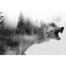 """Vaizdo rezultatas pagal užklausą """"double exposure wolf tattoos"""""""