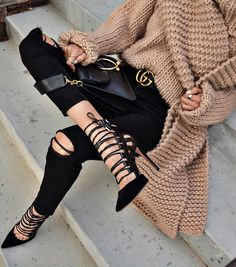 chunky cable knit   rips   heels