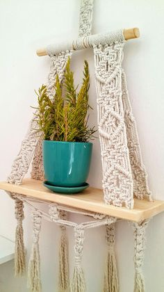 Macrame Wall Hanging Shelf Nursery wall Decor Home décor Wall Hanging Shelves, Large Macrame Wall Hanging, Macrame Plant Hangers, Floating Shelves Diy, Hanging Storage, Hanging Table, Wedding Wall Decorations, Macrame Patterns, Nursery Wall Decor