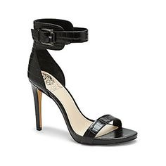 """FARELLA-Dominate the dance floor in this hot croco-leather sandal. This sassy Farella wows with a buckled ankle cuff, micro-platform and skinny toe strap. The trendy style offers the illusion of enviable leg-length when worn with a pair of jeans.  <li> 4"""" heel"""