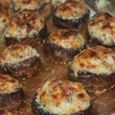 """Pinner said: """"Mouth-Watering Stuffed Mushrooms Recipe - I've made these dozens of times and they are fantastic. The cheese mixture is also delicious inside of hollowed small zucchini"""""""