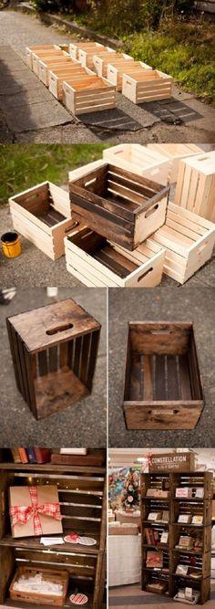 Preciosa estanteria creada a partir de 10 cajas