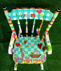 Kids' Furniture Personalized Your City Local Landmarks White Wooden Rocking Chair, Painted Rocking Chairs, Rocking Chair Plans, Painted Kids Chairs, Funky Painted Furniture, Kids Furniture, Decoupage Furniture, Repurposed Furniture, Mexican Kitchen Decor
