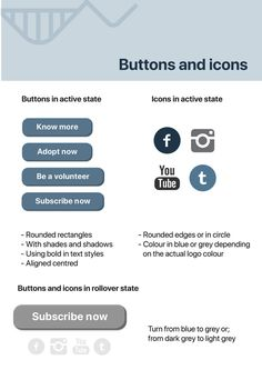 Style Guide for AWCS Rebranding - buttons and icons. #infographics #layout #whale #australia #awcs #project #society #blue #graphics #vector #design #layout #japan #australia #cartoon #illustration #analysis #emchengillustration