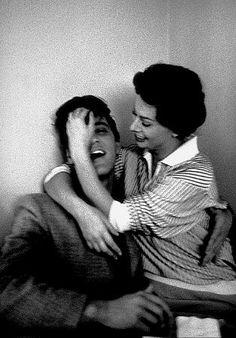 Elvis Presley + Sophia Loren. Don't think I've ever seen a picture of Elvis looking so...overtaken.