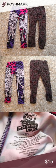 2 Pairs Monster High Leggings These are spunky leggings of Monster High which seems to be all the rage right now among young girls. The more colorful one is made out of almost synthetic feeling material and the darker one is made out of cotton. These are an XS but I think that is equivalent to a girls 4/6. I'm selling these two for the price of one. Monster Chic Pants Leggings