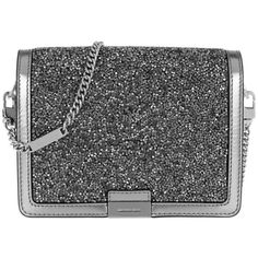 Michael Kors Shoulder Bag - Jade MD Gusset Clutch Lt Pewter - in... ($355) ❤ liked on Polyvore featuring bags, handbags, silver, shopper tote, handbags totes, man tote bag, shoulder hand bags and evening hand bags