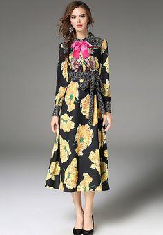 Now available on NBRANDFASHION.COM:   Lapel Bowknot Emb...  Shop Now  http://nbrandfashion.com/products/lapel-bowknot-embroidery-printed-dress-nr1172-mul?utm_campaign=social_autopilot&utm_source=pin&utm_medium=pin