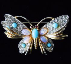 Rare Vintage JOMAZ Rhinestone Faux Opal Art Butterfly Pin/Broock FREE SHIPPING! #Jomaz