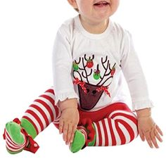 LUKYCILD Baby Girl Christmas Reindeer Top Pant Set >>> See this great image @ http://www.amazon.com/gp/product/B01M167X1L/?tag=christmas3638-20&pxy=071016014909