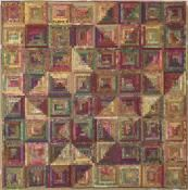 """Fallbrook Log Cabin quilt - Judy Martin's Log Cabin Quilt Book, 2004. Designed and pieced by Chris Hulin. 88"""" x 88"""". Alternate size of 66"""" x 66"""" also presented. This set was inspired by the Costa del Sol block in The Block Book by Judy Martin."""
