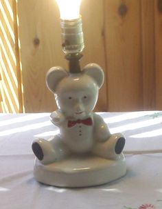 Vintage Teddy Bear Lamp Mid Century Porcelian by ChevyLovesLaura, $25.00