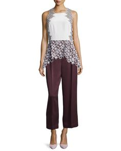 Patchwork+Lace+Peplum+Tank+&+Cropped+Wide+Leg+Trousers+by+3.1+Phillip+Lim+at+Bergdorf+Goodman.