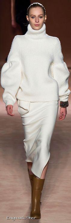 Victoria Beckham ~ Winter White Turtle Neck Sweater w Full Sleeve + Fitted White Skirt  2015-16