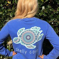Flo Blue BoHo Shelly™ Mandala Long Sleeve Pocket Tee - Shelly Cove  - 1