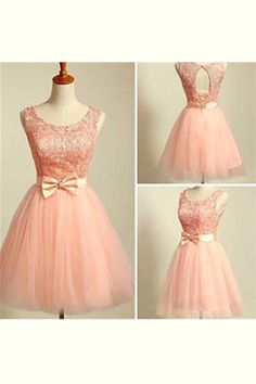 119.89 USD charming bowknot Homecoming dresses, Blush Pink Lace Homecoming