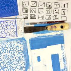 Assembling ideas, tools, paint and samples at the start of a new project inspired by The Cyclades Islands in Greece💙🇬🇷💙