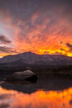 ~~Burning Reflections - Falling Leaf Lake, South Lake Tahoe, California by adampottsphotography
