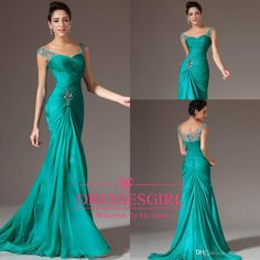 Cheap 2014 Prom Dress - Discount 2014 New Arrival Turquoise Chiffon Mermaid Prom Dresses V Neck Turquoise Cap Sleeves Beaded Pleats Floor Length Formal Crystal Evening Gowns Online with $90.48/Piece   DHgate