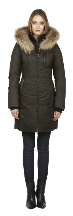 $600 650 down CHRISSY | OLIVE WINTER DOWN COAT WITH FUR HOOD FOR WOMEN | SOIA & KYO