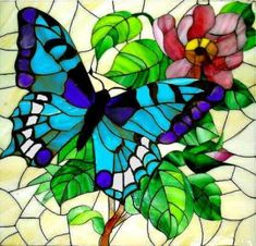 63 Ideas Jewerly Art Glass Tiles For 2019 Stained Glass Paint, Stained Glass Flowers, Stained Glass Projects, Stained Glass Patterns, Glass Butterfly, Mosaic Art, Tiffany, Glass Tiles, Painting