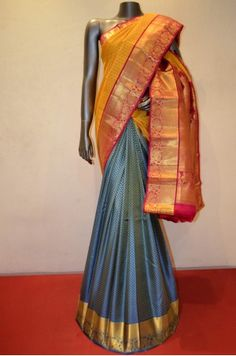Wedding Patli Kanjeevaram Silk Saree With a Grand Zari Border Product Code: AC207711