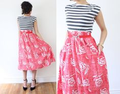 vintage 80s Cute Red  White Rose FLORAL High by CocoandMillie, $32.00