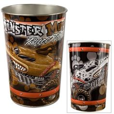 Check out this cool Team Monster Mutt Trash Can.  This trash can pictures both the Monster Mutt and Mutt Dalmatian Monster trucks, along with the Monster Mutt Race Team logo, and brown and white paw prints behind the images.  Measures 15