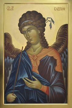 Joanna Zabagło Archanioł Gabriel (70 cm x 47 cm) tempera żółtkowa na desce, złoto