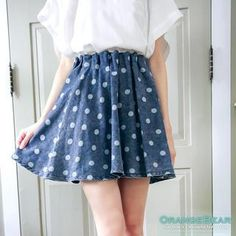 Buy 'OrangeBear – Dotted A-Line Denim Skirt' with Free Shipping at YesStyle.ca. Browse and shop for thousands of Asian fashion items from Taiwan and more!