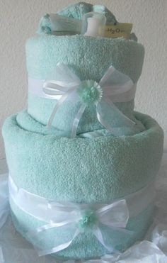 Tiffany Blue Birthday Towel Cake
