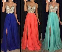 Sparkly Prom Dress,Deep V Neck Party Dress,Beaded Prom
