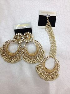 Gorgeous Bollywood Party Earrings With Matching Tikka In Kundan And Pearls New | eBay